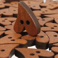 KE_ HK- 100Pcs Brown Wooden 2-Hole Heart Shape Buttons for DIY Sewing Scrapboo