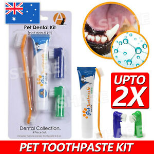 UP 2X Pet Dog Cat Cleaning Toothpaste+Toothbrush+ Back Up Brush Set Beef Flavour