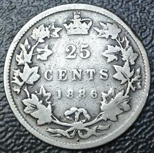 OLD CANADIAN COIN 1886 over 7 - 25 CENTS - .925 SILVER - Victoria - Nice Coin