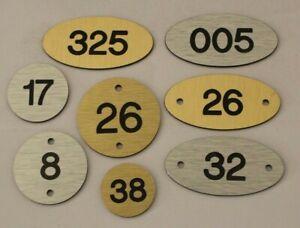 Engraved Aluminium Metal Faced Locker Numbers, Table Numbers Tags / Discs