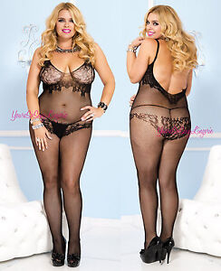 Plus Size FLORAL FISHNET Bodystocking TANK STYLE CROTCHLESS Soft Spandex QUEEN