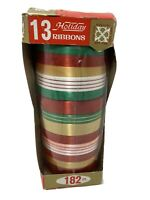 Vintage Holiday Gift Package Ribbon Roll 182 Feet New in Package Red Green Gold