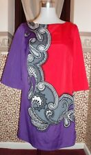 MONSOON PURPLE AND RED PATTERNED TUNIC SIZE 10 PRE LOVED