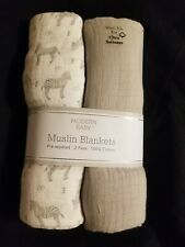 """Modern Baby Muslin BLANKETS FOR BABY 40""""x 36 Zebra gray 2 pack  NWT 100 cotton"""
