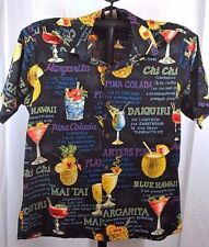 Go Barefoot Hawaiian Shirt SS Black/Drink Recipes L USA Coconut Shell Buttons