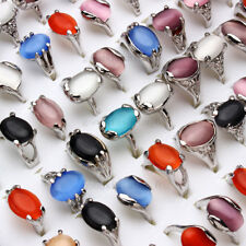 Jewelry Wholesale Lots 50pcs mixed style Cat eye gemstone Silver P Ring FREE