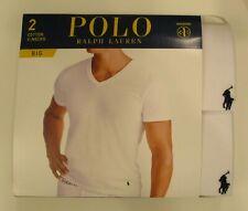 2 POLO RALPH LAUREN MENS 2XL 3XL 4XL COTTON WHITE V NECK T-SHIRTS UNDERSHIRTS