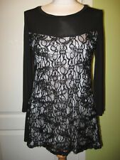FITS A UK 10-12 LADIES BLACK STRETCHY TOP HAS SEQUINNED BLACK/SILVER LACE FRONT
