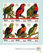Mustique Grenadines St Vincent 2015 MNH Parrots of Singapore 2015 6v M/S Birds