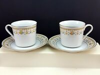 Fine China of Japan Garden Bouquet Cups and Saucers Set of 2 Floral Gold 4078
