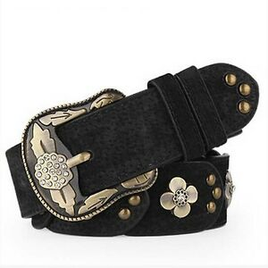 Beautiful Casual Womens Belt Vintage Flower Genuine Leather Belts for Jeans