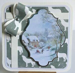 88: Handmade Large Kanban Winter Village Scene Xmas Card topper.