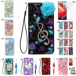 for Xiaomi Phone Case Bling Women Luxury Leather Stand Wallet Protective Covers
