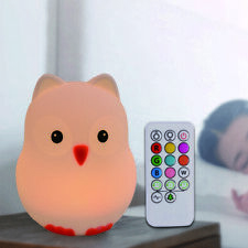 Silicone Nursery Night Light,7 Colors Remote,Rechargeable, Free Shipping