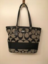 coach purse used black and grey fabric with leather