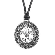 Fleur de Lis Pendant Women Necklace Medieval French Flower Lily Pagan Jewelry