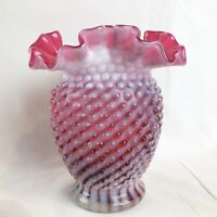 Fenton Cranberry Opalescent Hobnail Vase Sprial Optic Pink