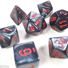Chessex Dice Poly - Black w/ Red Velvet - Set Of 7- 27478 -Free Velvet Bag! DnD