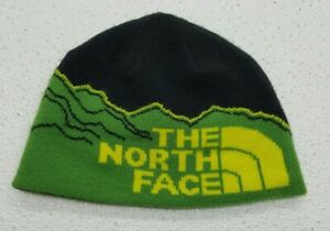 The North Face Reversible Spellout Knit Beanie Hat Green Yellow Black Youth Boys