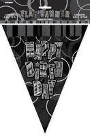 GLITZ BLACK & SILVER FLAG BANNER HAPPY BIRTHDAY 3.6M/12' BIRTHDAY PLASTIC BANNER