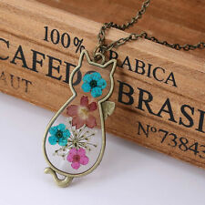 REAL DRIED FLOWER CAT PENDANT NECKLACE / Chain Jewellery Gift Idea Girls Ladies