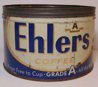 Old Vintage 1950s 1958 ALBERT EHLERS COFFEE TIN ONE POUND BROOKLYN NEW YORK USA
