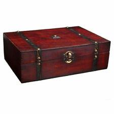 Lockable Wooden Box Jewelry Holder Storage Case Retro Vintage Photography Props