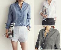 Fashion Women's Summer Loose Long Sleeve V Neck Casual Cotton Shirt Tops Blouse