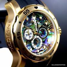 Invicta Pro Diver Scuba Blue Abalone Black Gold Tone Chronograph 48mm Watch New