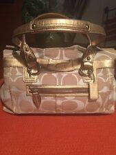 COACH Signature Penelope-13290-Beige Fabric Gold Leather/Tote/Satchel/Bag
