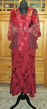 SPENCER ALEXIS 3PC JACKET TOP SKIRT SET BURGUNDY RED WINE SILK LACE JACQUARD ~S