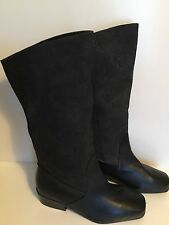 Woman's MARKON SUELA Black Floral Suede & Leather Pull On Boots Size 8 1/2 M