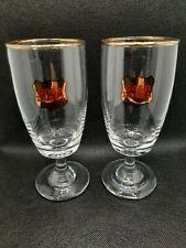 VINTAGE GOLD LABEL STEM BEER GLASSES - Pair of 2 Gilt Rimmed 1950s / 60s
