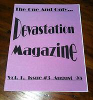 Devastation Magazine #3 1995 Heart Throb Mob Guttersluts VLC Punk Glam Rock *NEW