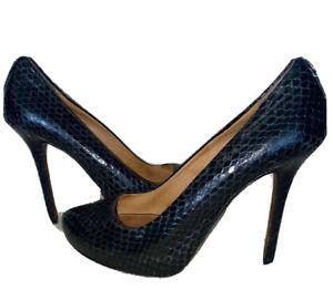 COACH Christina Heels 7m Black Snake Skin