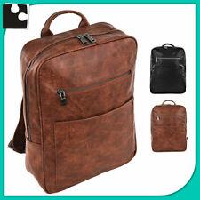 Mochila de Piel para Hombre Trabajo Oficina Viaje Cuero Ecopiel Soporte Laptop
