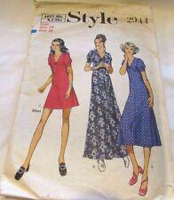 Vintage Original 60's 70's  Ladies  Dresses Style Sewing Pattern Size 14 Cut