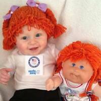 Cabbage Patch Kid Crochet Hat Wig With Pigtail Braids Infant Toddler Adult CPK