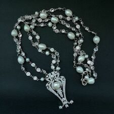 "K122707 26"" 2Strands White Pearl Chain Necklace CZ Pendant"