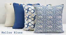 SET OF 4 40 X 40 CUSHION COVERS IN MELLOW BLUES- SCATTER THROW PILLOW COVERS