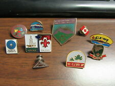 Scouts Canada 10 different Hat Pins--Jamboree,Canada Flag, Province    p66