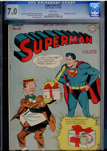 Superman #37 (1945) CGC 7.0 WHITE pages  Prankster; Wayne Boring cover
