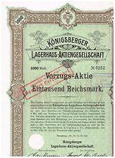 Königsberger Lagerhaus-AG, Köningsberg 1920, 1000 RM, ungelocht