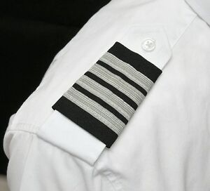 Aero Phoenix Professional Pilot Uniform Epaulets - Four Silver Bars - Captain