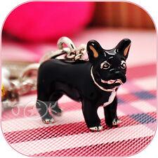 French Bulldog Puppy Pet Hand-Painted Enamelled Keychain Keyring Charm DKC0207