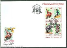 SAO TOME  2013 ENDANGERED SPECIES ELEPHANT LEMUR MONKEY BIRD SHEET FDC