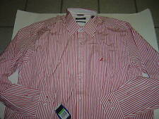 NEW MENS NAUTICA RED & WHITE STRIPED L/S SHIRT SIZE S $65