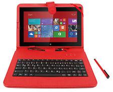 Premium German QWERTZ Keyboard Folio Case in Red for Nokia Lumia 2520