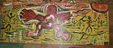 Calvin Livingston  FOLK ART  painting  wood Red Figure  Juke outsider  artist