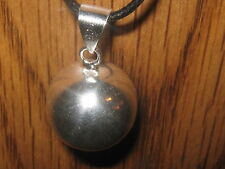 20MM GLOBE SHINY SILVER TONE SPHERE HARMONY BELL BALL CHARM PENDANT NECKLACE